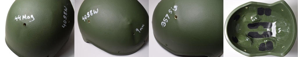 Bilder av skuddsikker hjelm testet mot .44 Magnum, 40 S&W, .357 SIG og 9 mm